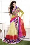 Fashionfemina Shaded designer worked lahenga Saree